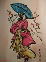 Geisha watercolor by Robert-Greg-Voulgari