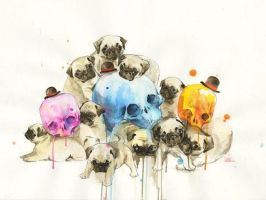 Puppies and Skulls by lora-zombie