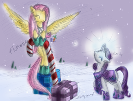 Fluttershy and Rarity - Christmas Candycane by fluffycawwot