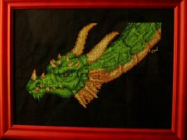 Green dragon cross stitch by Santian69