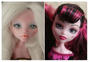 Repainting VS Factory Makeup: Draculaura (Angel) by MySweetQueen-Dolls