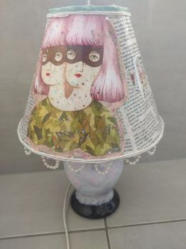 Painted and Decoupaged lamp by divine--apathia