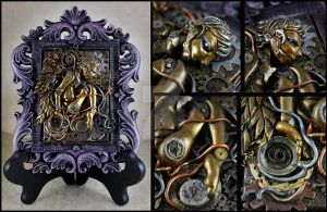 Brass Clock work Angel Mixed Media Sculpture by NeverlandJewelry