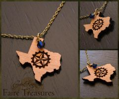 Texas Lone Star Gear Steampunk Wood Necklace by CrystalKittyCat