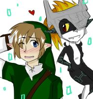 link and midna by Dellzi