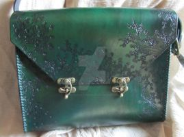 Green Floral Purse, Handmade with Hand tooling by EarthlyLeatherDesign