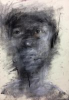(D25) untitled conte on paper 27 x 18.7 cm 201 by ShinKwangHo