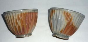 Burnt Cream Carved Cup set by ColoradoPotter