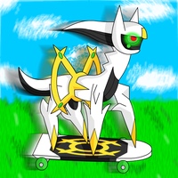 Arceus on a skaetbord by UMSAuthorLava