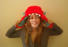 Red Furry Monster Bomber Hat by Brutemusandfriends