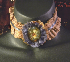 Ecru and Blue Lace Choker with Floral Cab by MorganCrone