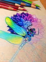 Dragonfly and Dahlia - WIP by dannii-jo