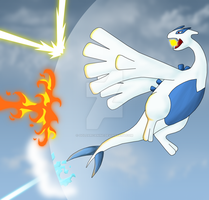 Lugia is under attack coloured by Goldarcanine