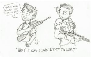 RT/AH Scribbles What if Gav and Dan went to war? by MrNinja3322