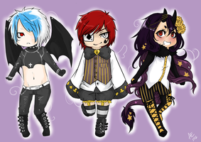 +Chibis Commission Set+DeathlyDemise by Art-of-Kawaii