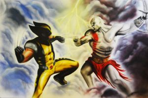 Kratos vs Wolverine by SpringzArt