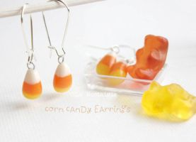 Candy Corn Dangle Earrings Handmade by LaNostalgie05