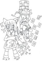 Alice and Hatter Line Art by TeaLadyC8LIN