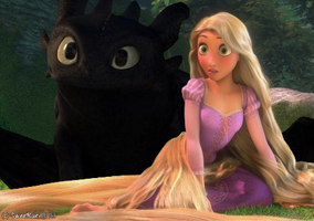 Rapunzel and Toothless 2 by SweetKairi1992