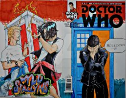 Dr Who's excellent adventure sketch cover. by steelcitycustomart