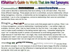Guide to Words That Are Not Synonyms by happyare