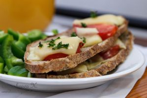 Homemade toast with cheese and tomato by SweetAksenia