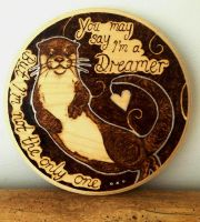 Pyrography Florrie the Otter Wall Plaque by BumbleBeeFairy