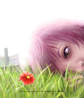 Semi Realism - Red Daisy by hamstertai