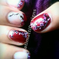 Japanese Cherry Blossom French Tip by FatimattiDesigns