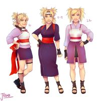Temari's different ages/designs by Jazzie560