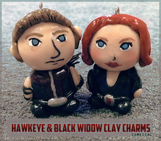 Hawkeye and Black Widow Clay Charms by Comsical