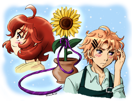 Harvest Moon-AP -Chase-Molly- Sunflower by amako-chan