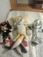 my shadow silver and tails plushies by sonicaestela