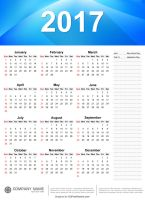 Yearly 2017 Calendar Template by 123freevectors
