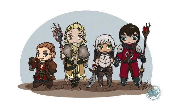 Dragon Age 2 - Chibi Party by DeathLawliet