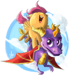 Spyro and Scoots by maltese101