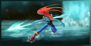 Waterfall Battle with Undyne by JewelMaiden
