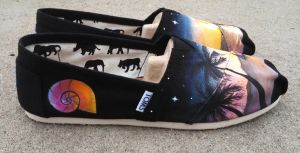 Romantic Tropical Sunset TOMS shoes by Ceil