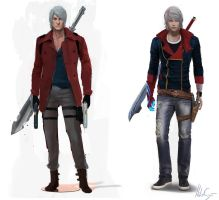 Devil May Cry- Dante and Nero redesigns by helioart