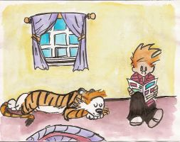 Calvin and Hobbes grown up by bluepenguine