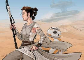 Star Wars 7: Rey and BB-8 by Alycha