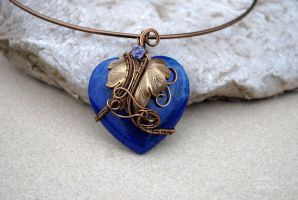 Lapis Lazuli heart shaped wire wrapped necklace by IanirasArtifacts