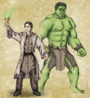 DnD Avengers:  Bruce and Hulk by mcat711
