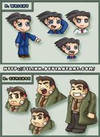 PW Chibis: Wright and Gumshoe by FJLink