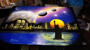 Riens Artwork - City Skyline Canvas 70x100cm by RiensArtwork