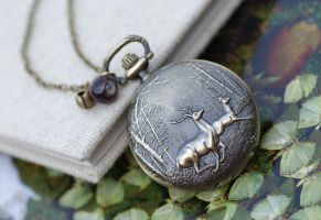 Vintage Deer Pocket Watch Necklace by foowahu-etsy
