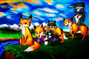 Raccoons and foxes by MadGreenBunny