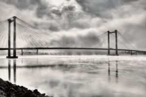 Cable Bridge in the fog by SonjaPhotography