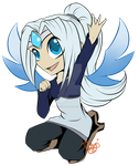 Silverheart flat-colored chibi by Dogi-Crimson