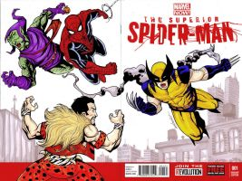 Superior SM sketch cover Spiderman and wolverine by mdavidct